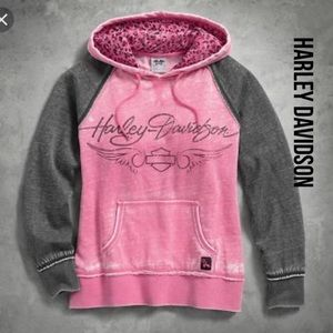 Women's Pink Label Leopard Accent Hoodie SM NWOT